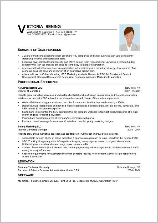 Resume Templates In Word Format