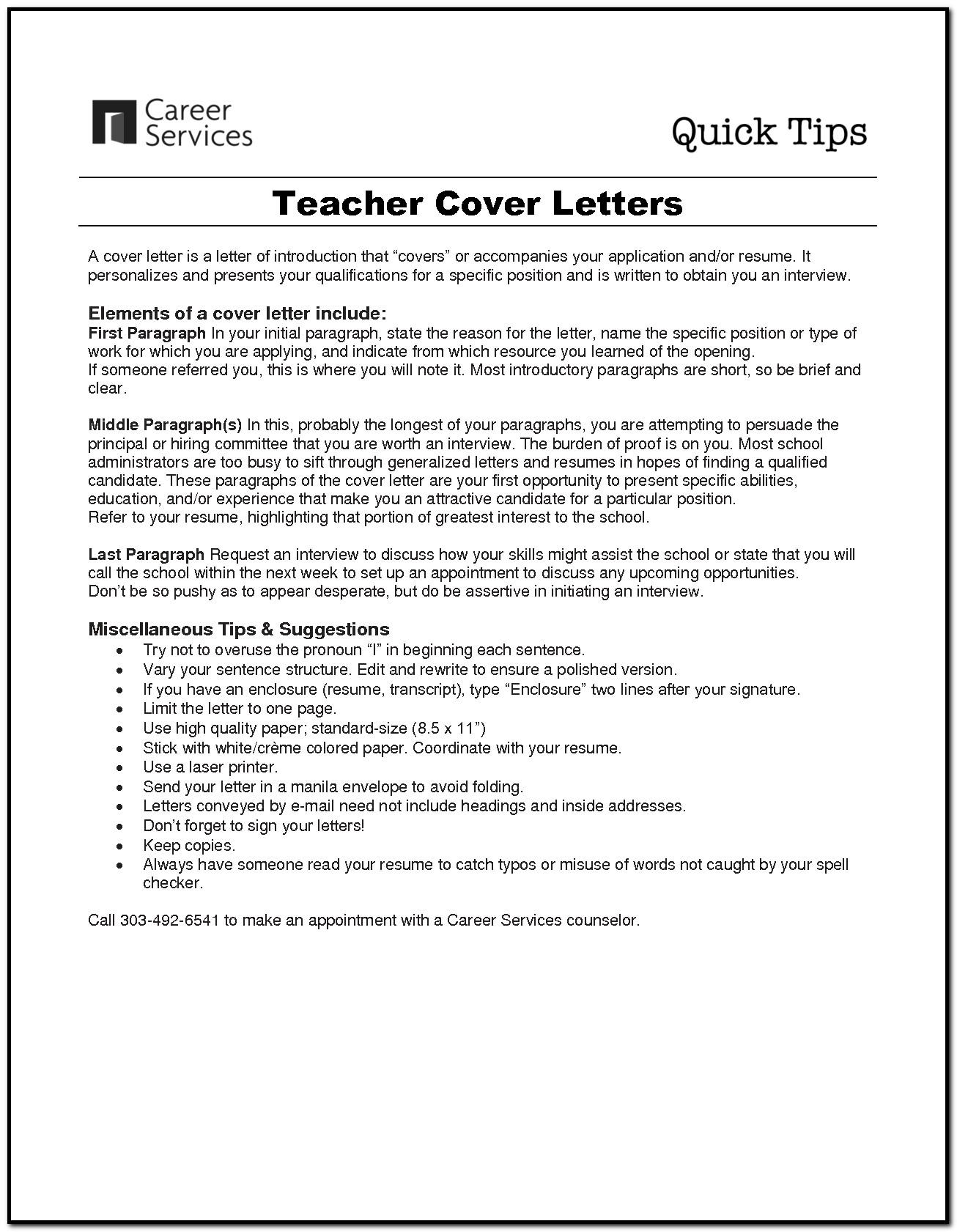 Sample Cover Letter For Beginner Teacher