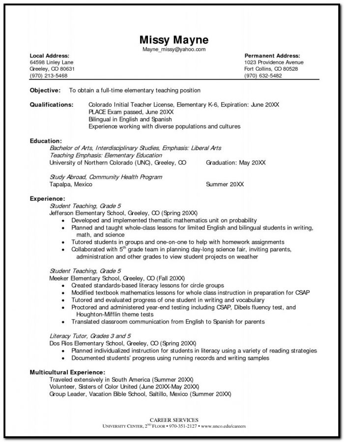 Sample Resume For Elementary Teacher Template The Most Format
