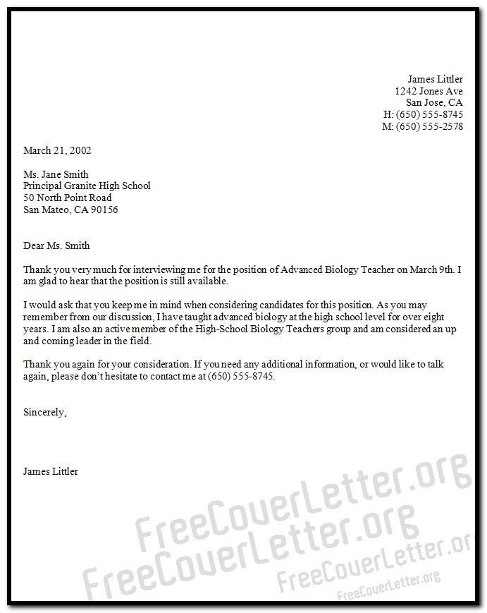 Sample Cover Letter For Biology Teacher