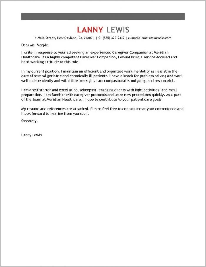 Sample Cover Letter For Caregiver Job