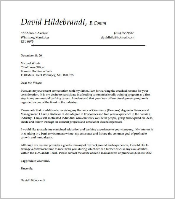 Sample Cover Letter For Entry Level