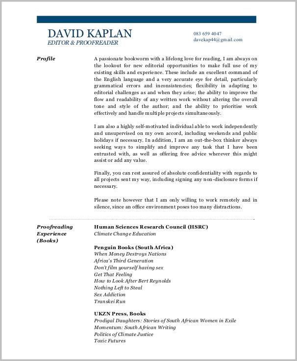 Sample Cover Letter For Proofreader Position