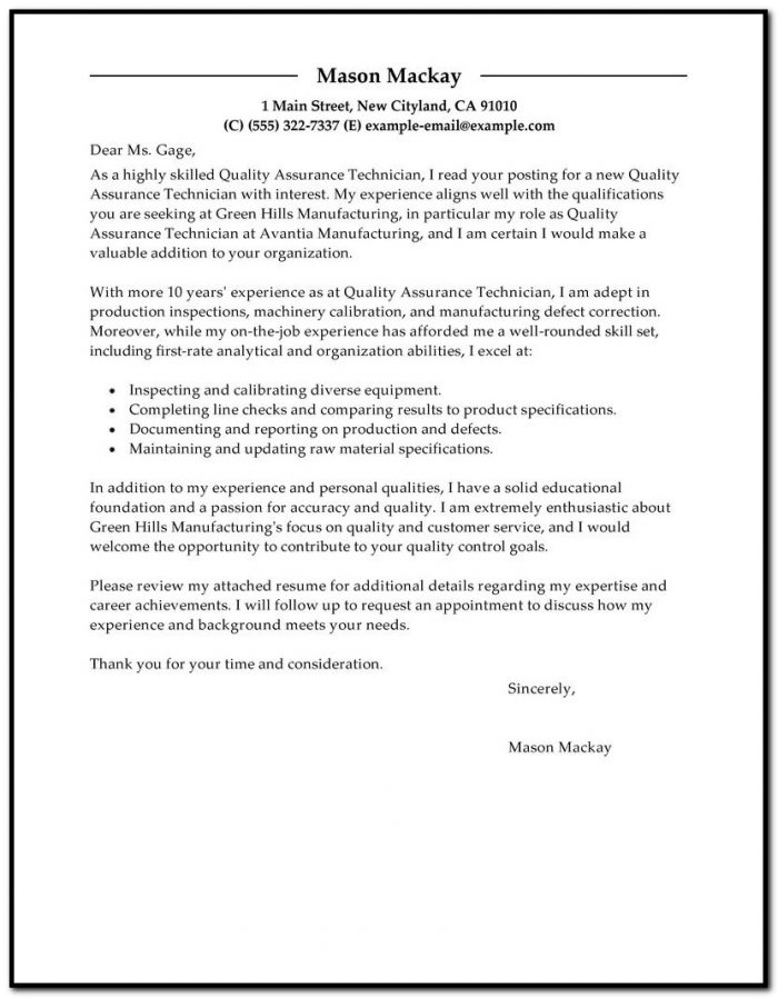 Sample Cover Letter For Qa Resume