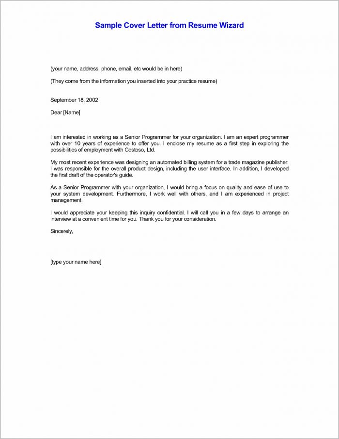 Sample Cover Letter For Resume In Email