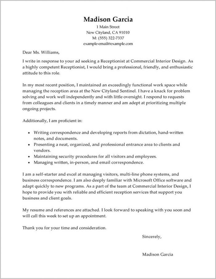 Sample Cover Letter For Resume Receptionist