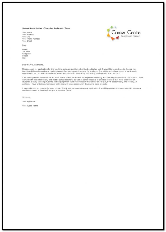 Sample Cover Letter For Teaching Assistant Job