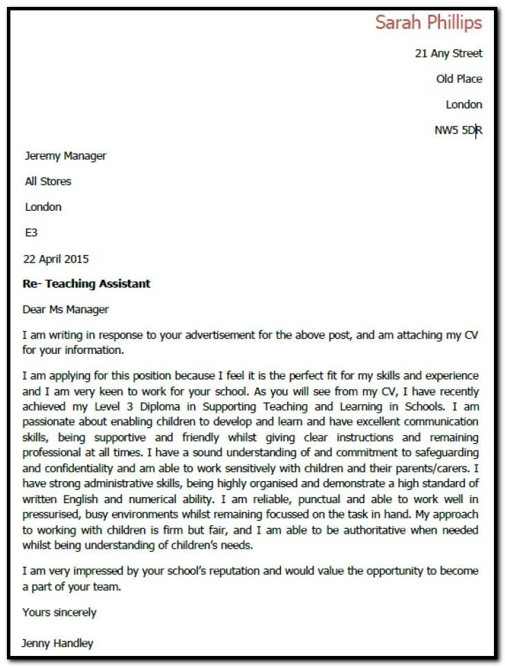 Sample Cover Letter For Teaching Assistant Job Uk