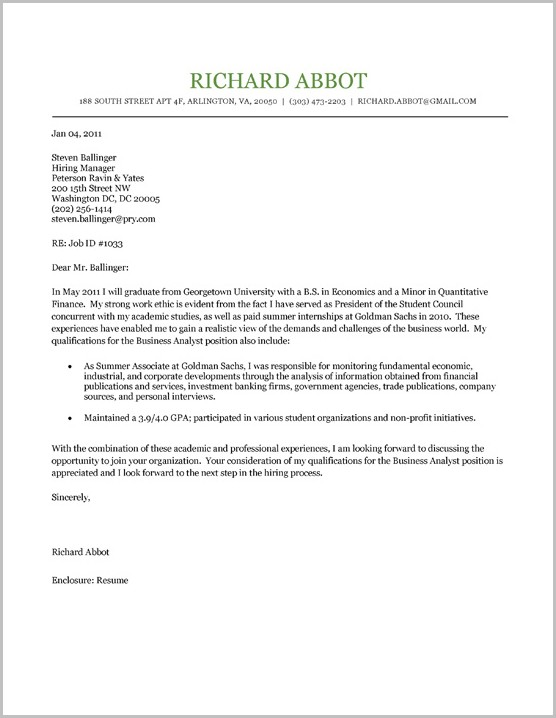 Examples Of Cover Letters For Resumes College Students