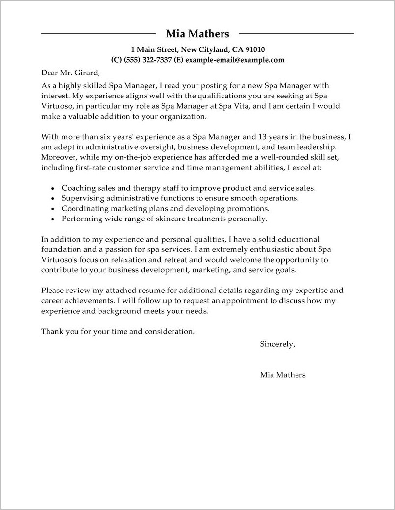 Sample Resume Cover Letter Marketing Manager