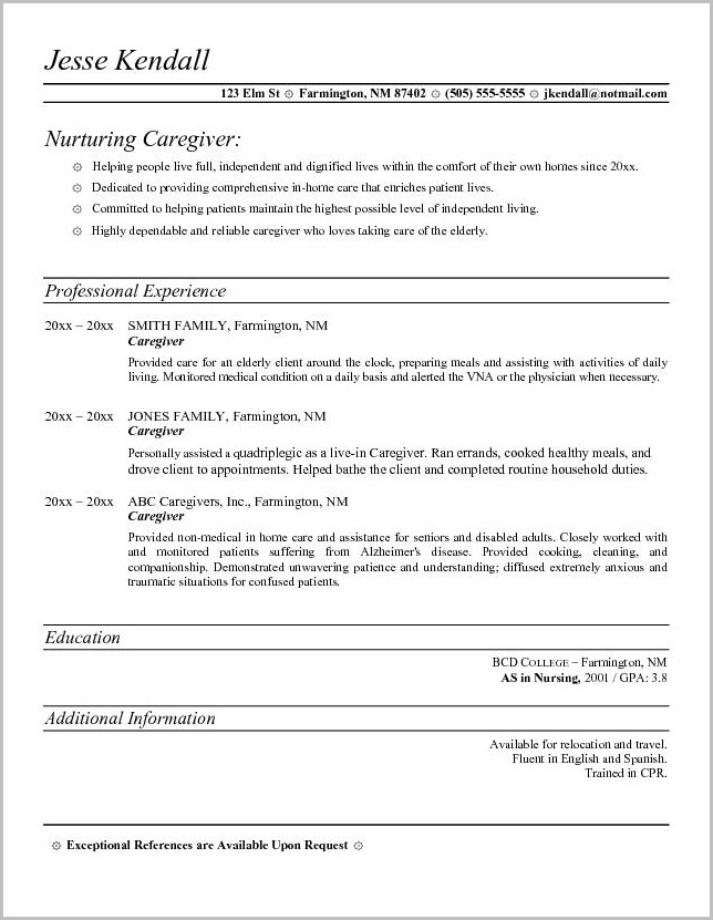 Sample Structure Of A Cover Letter For Caregiver