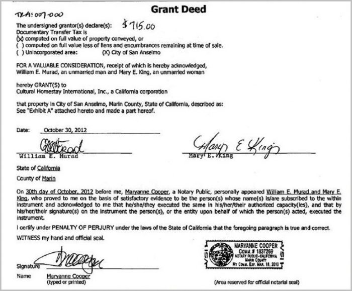 Samples Of Grant Deed Form California