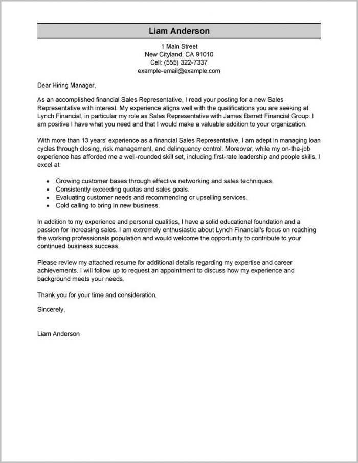 Samples Of Resume And Cover Letters
