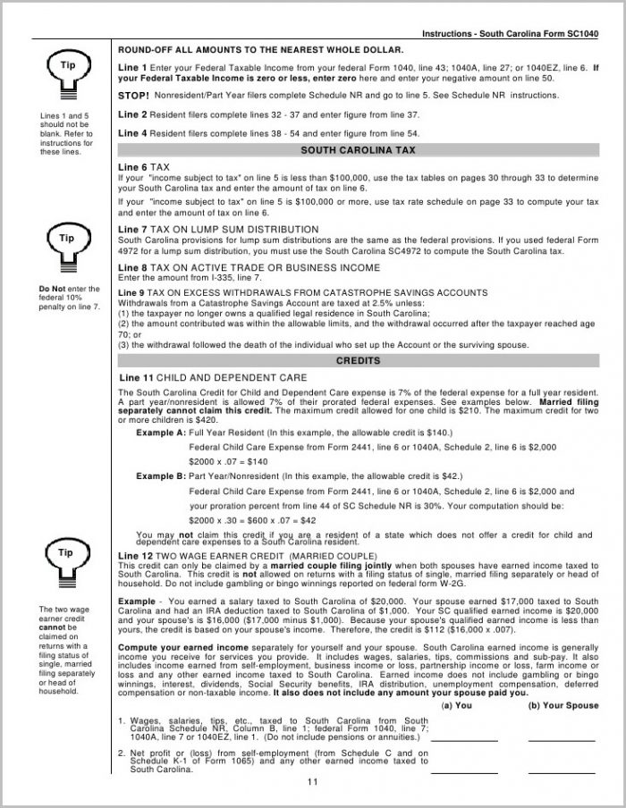 Sc 1040ez Tax Form