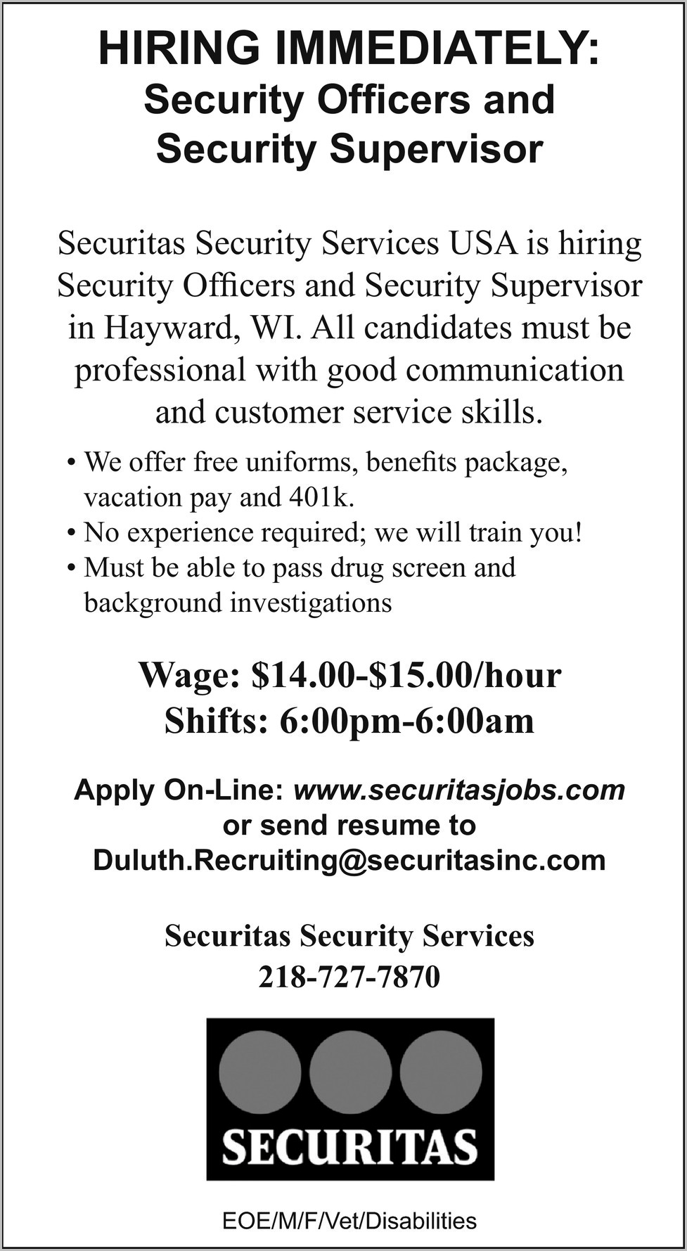 Securitas Usa Job Application