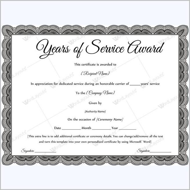 Service Award Certificate Template