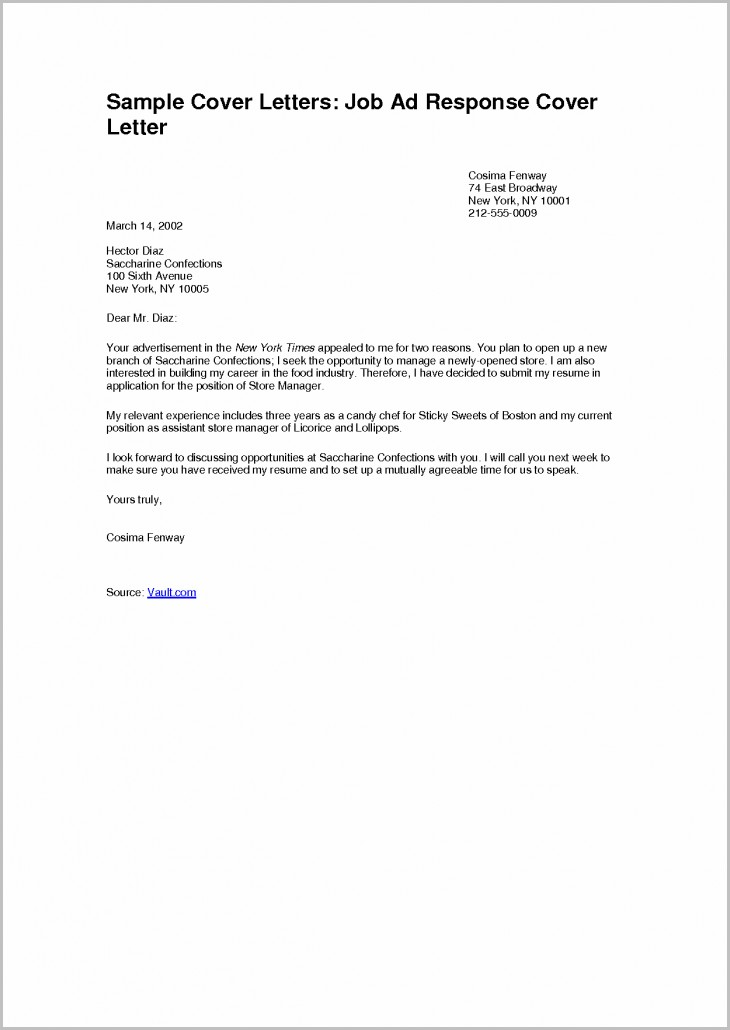 Simple Cover Letter For Resume Samples