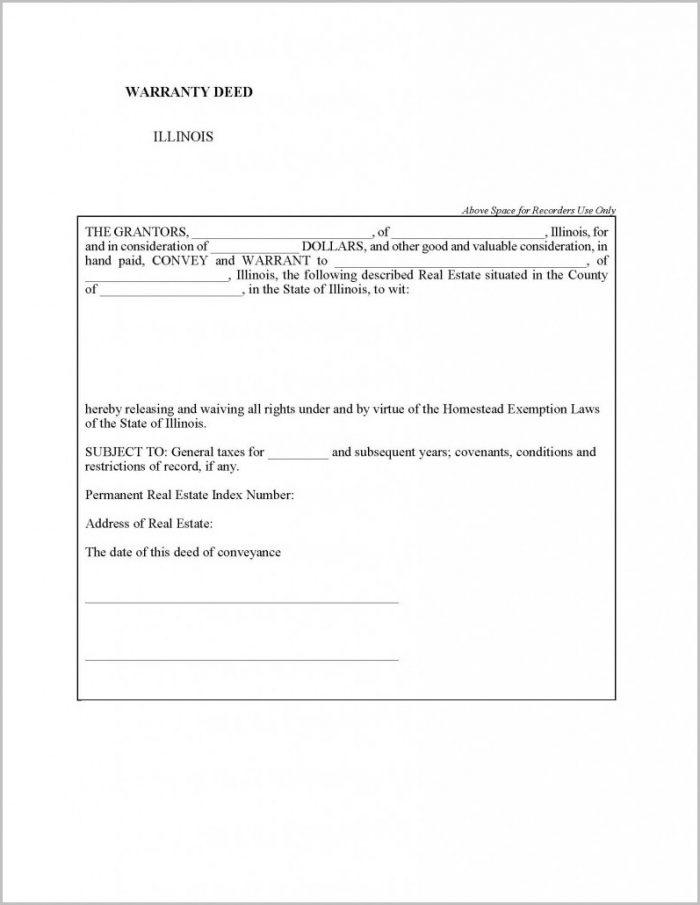 Special Warranty Deed Form Illinois
