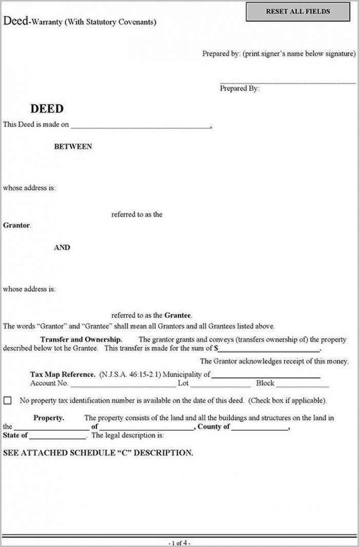 Special Warranty Deed Form New Jersey