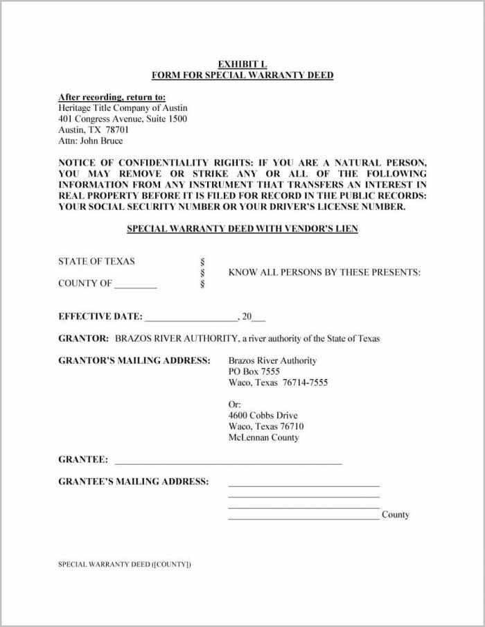 Special Warranty Deed Form Texas Divorce