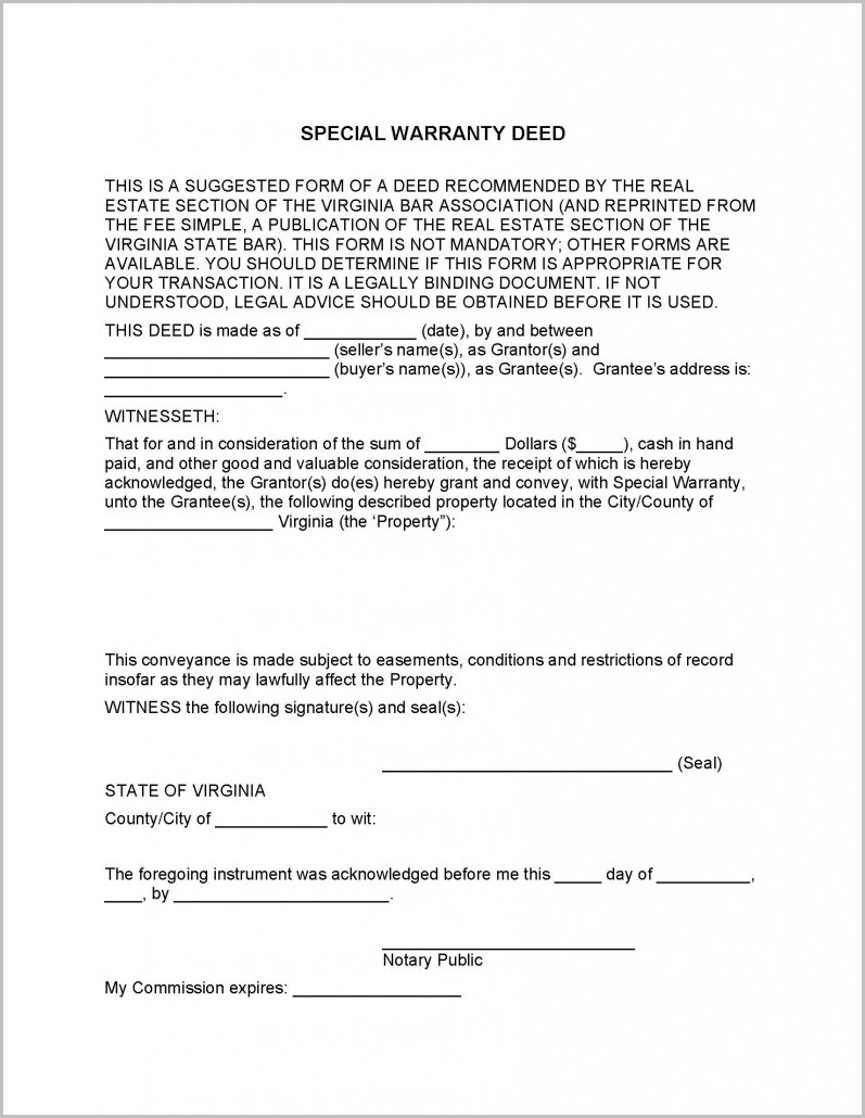 Special Warranty Deed Virginia Form