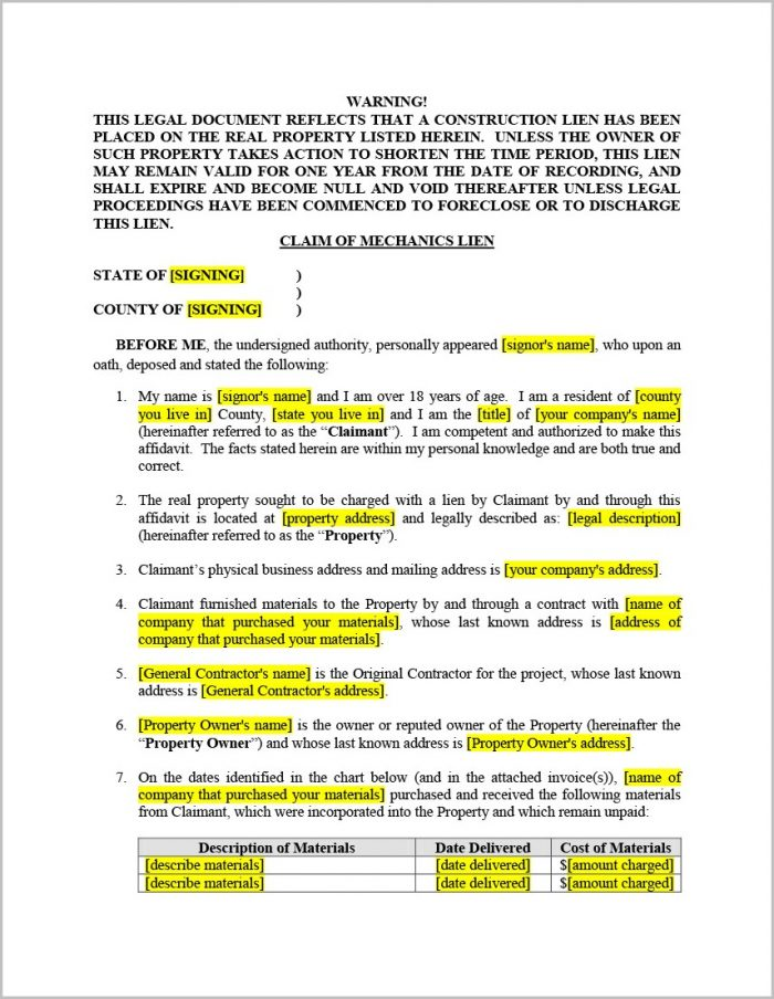 Texas Mechanic's Lien Affidavit