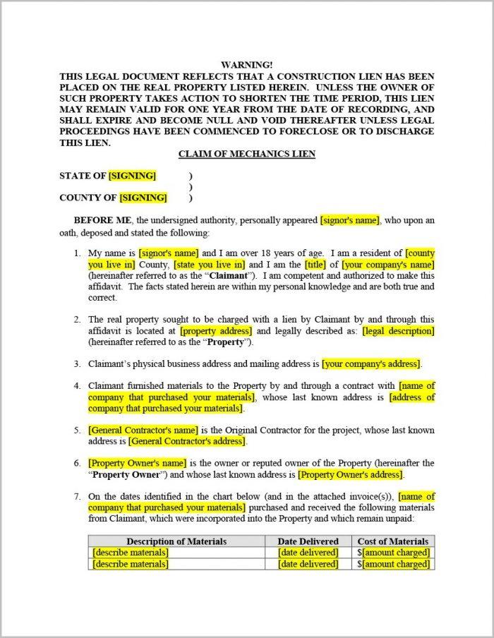 Texas Mechanic's Lien Affidavit