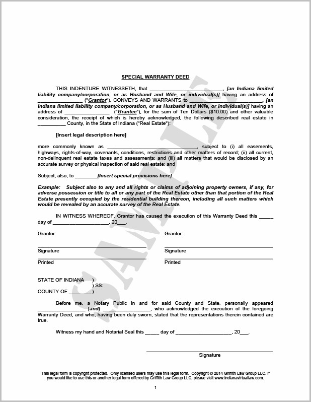 Texas Warranty Deed Form Sample