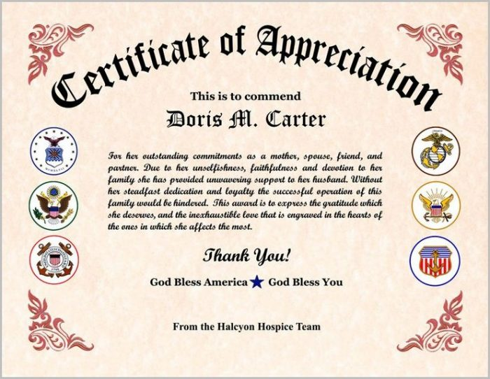 Vfw Certificate Of Appreciation Template