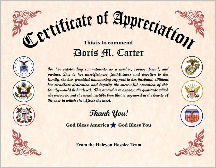 Vfw Certificate Of Appreciation Template