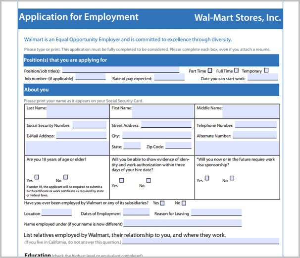 Walmart Job Application Age
