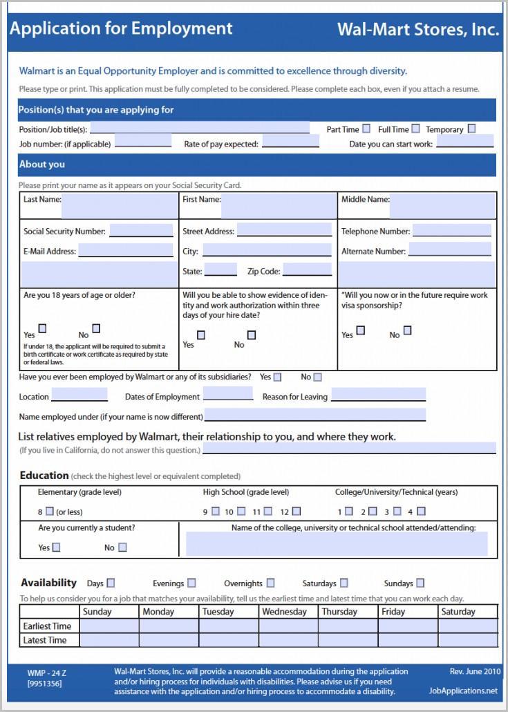 Walmart Retail Job Application