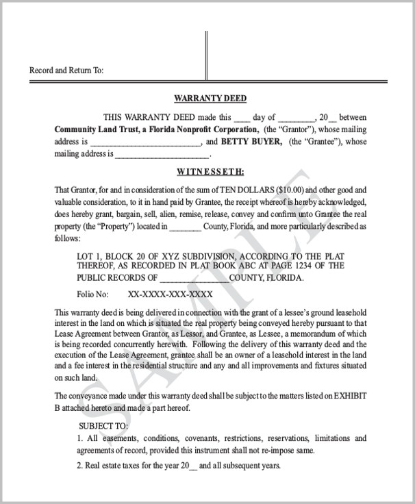 Warranty Deed Form Florida Free