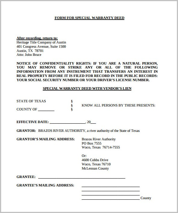 Warranty Deed Form For Texas