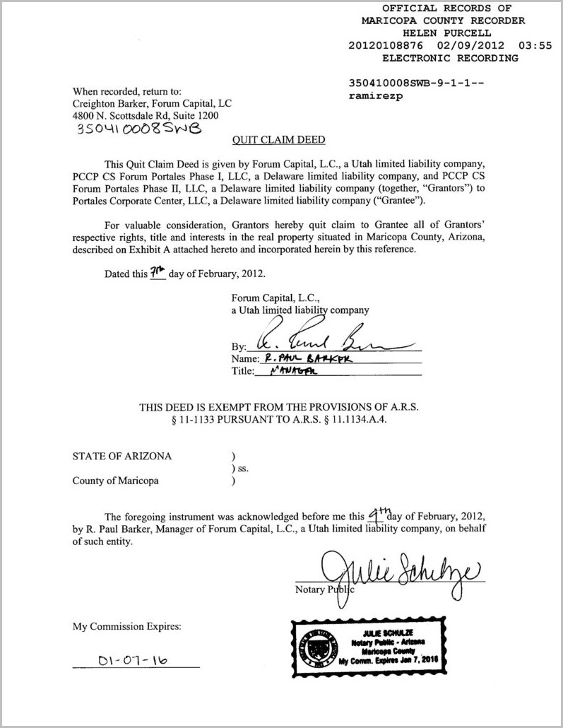 Warranty Deed Form Maricopa County Arizona