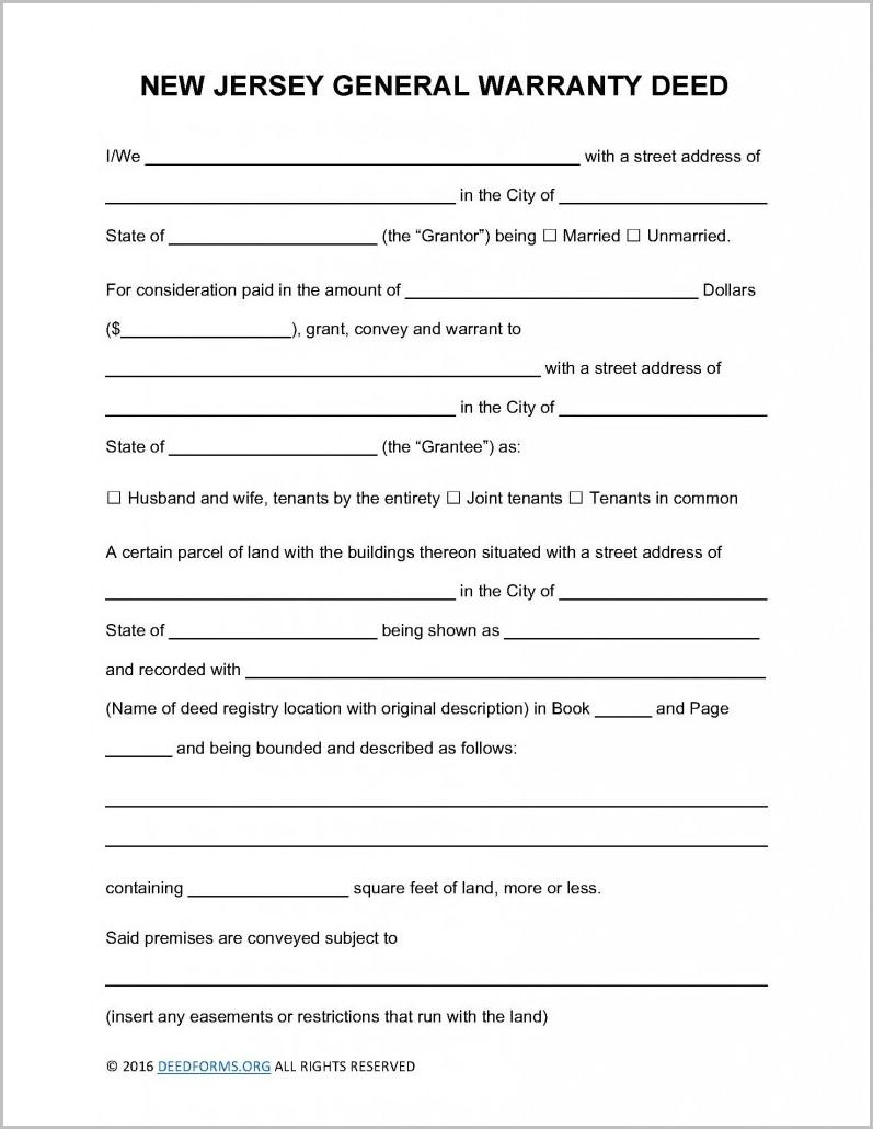 Warranty Deed Form New Jersey