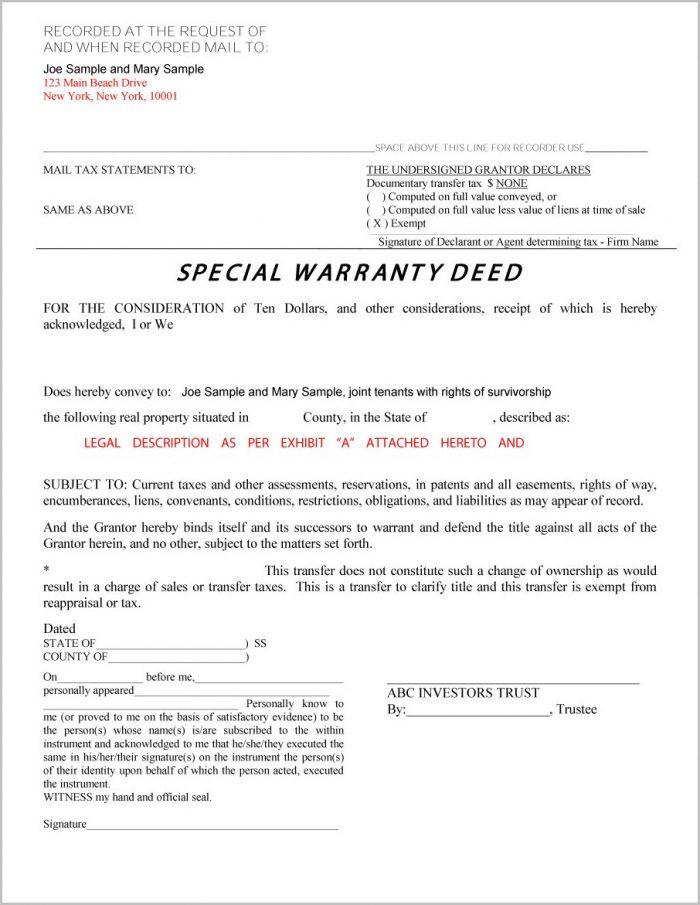 Warranty Deed Form New York