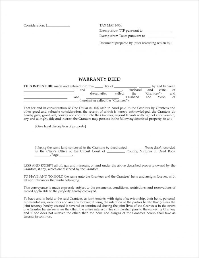 Warranty Deed Form Virginia