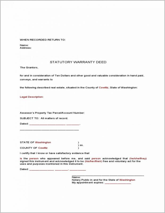 Warranty Deed Form Washington State