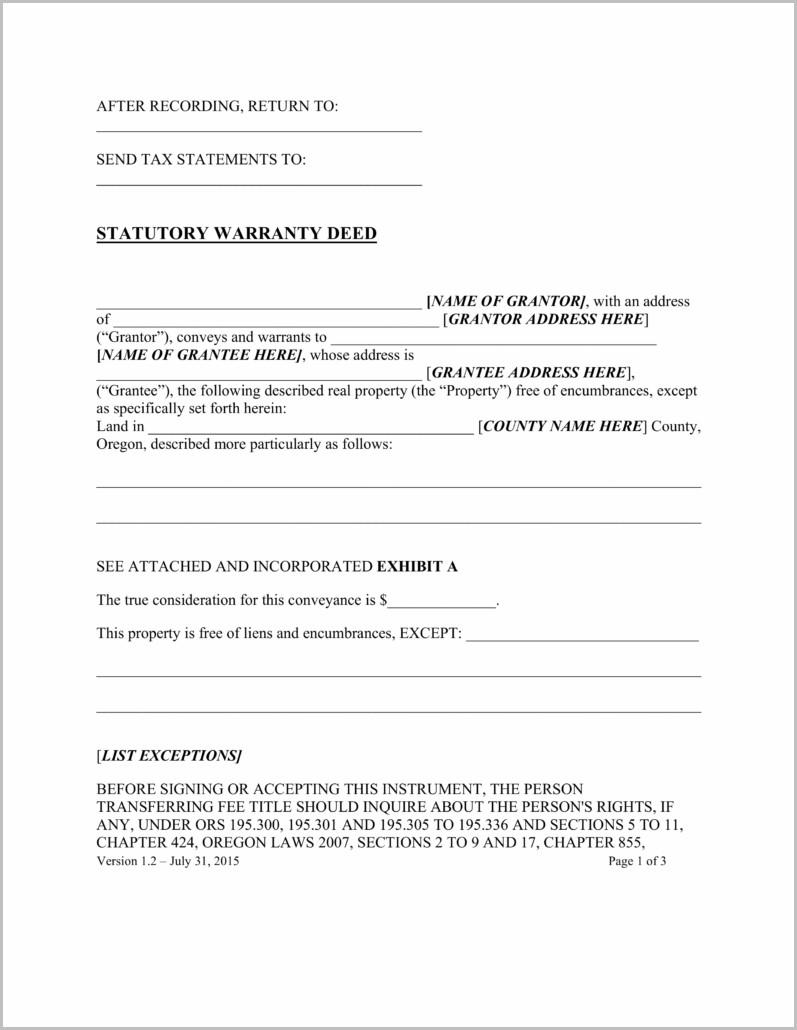 Warranty Deed Transfer Form