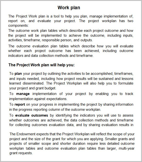Work Plan Template Microsoft Office