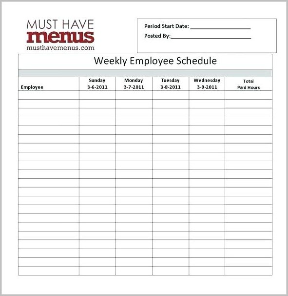Work Schedule Template Free Printable