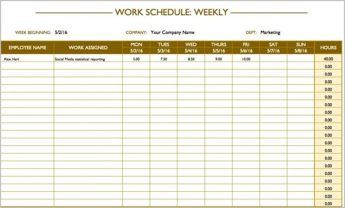 Work Schedule Template Weekly