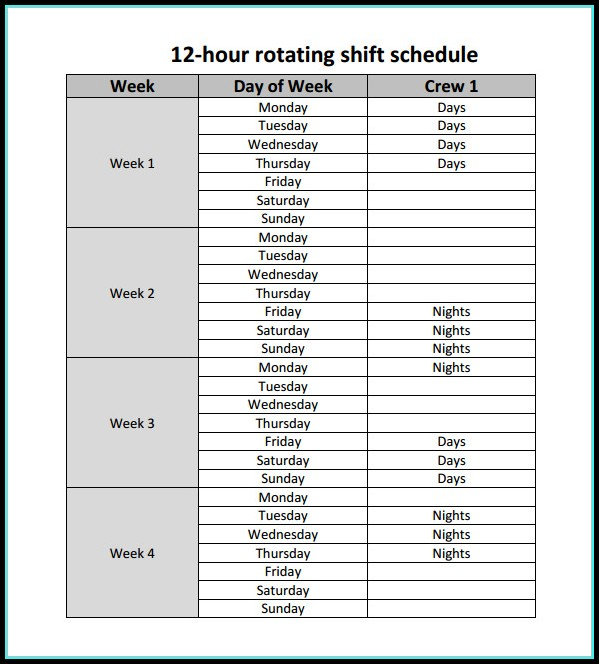 12 Hour Rotating Shift Schedule Template