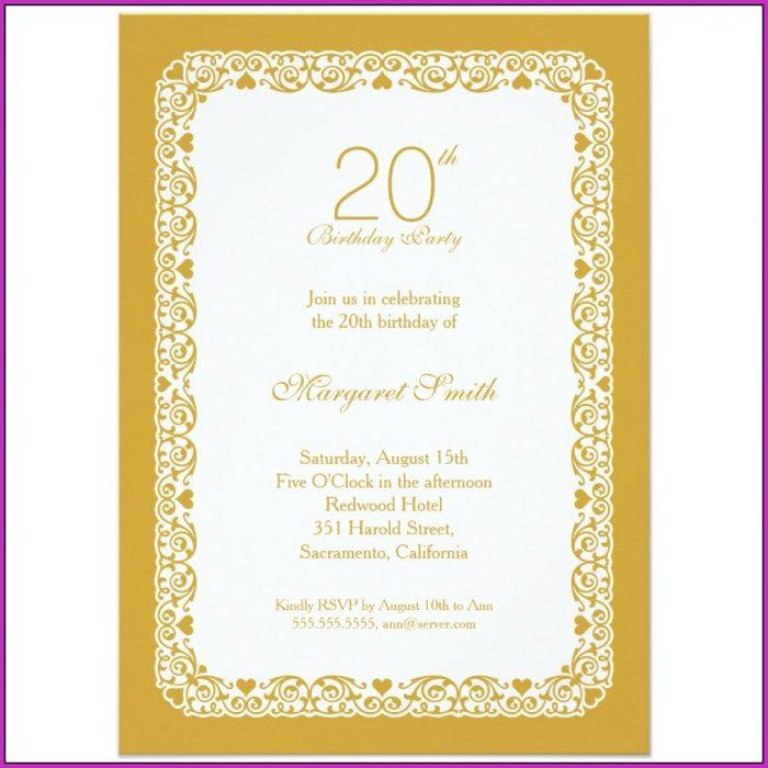 20th Birthday Invitation Templates