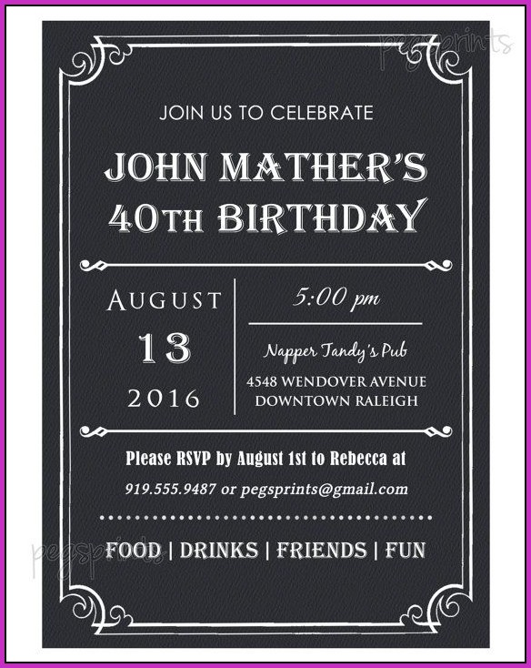 40th Birthday Invitation Templates For Him