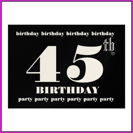 45th Birthday Invitation Templates