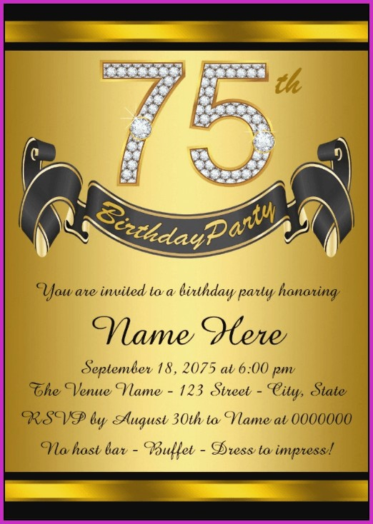 75th Birthday Invitation Templates Free