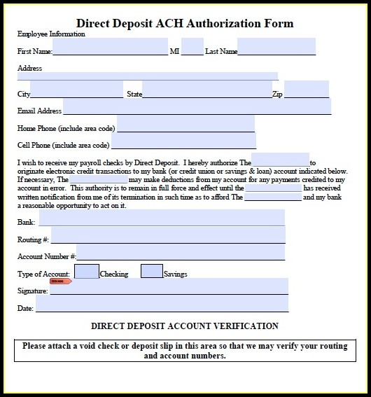 Ach Transfer Form Template