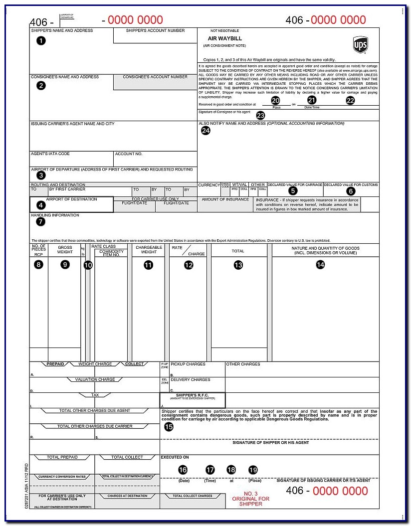 Air Bill Of Lading Template